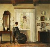 Leyendo a la luz de la ventana - Holsoe