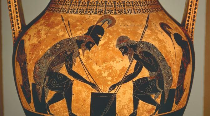 Cerámica griega: Aquiles y Áyax jugando a los dados (primera parte)