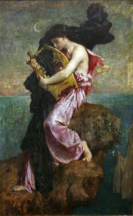 Safo Abrazada a la Lira - Jules Delaunay