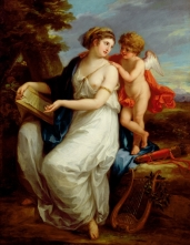 BAL85461 Erato, the Muse of Lyric Poetry with a putto by Kauffmann, Angelica (1741-1807); 94x111.8 cm; Roy Miles Fine Paintings; Swiss, out of copyright